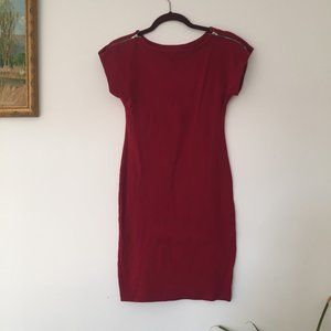 American Apparel Zippered Shift Dress in Ruby Red